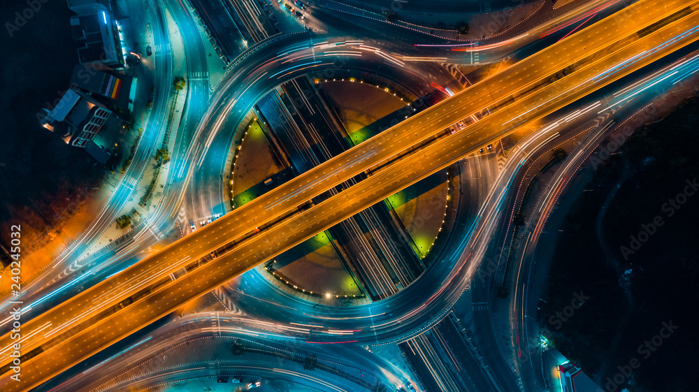 Fototapeta Expressway top view, Road traffic an important infrastructure