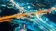 canvas print picture - Expressway top view, Road traffic an important infrastructure