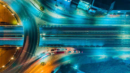 Expressway top view, Road traffic an important infrastructure