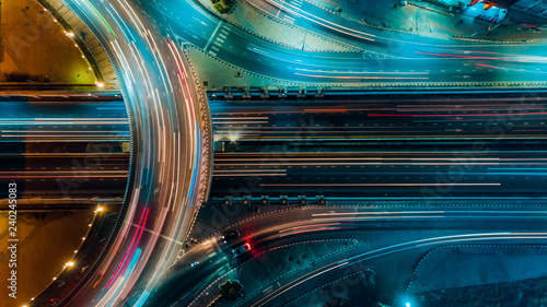 Photo sur Toile Autoroute nuit Expressway top view, Road traffic an important infrastructure