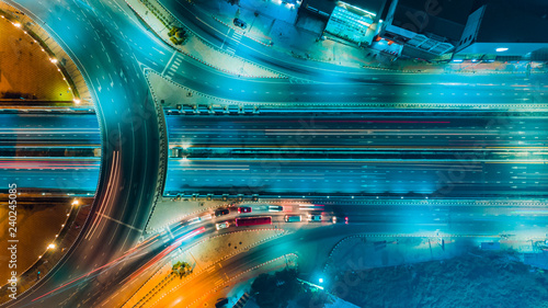 Photo sur Aluminium Autoroute nuit Expressway top view, Road traffic an important infrastructure