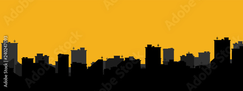 Silhouette of the city. Cityscape background. Simple black and yellow texture. Urban landscape. For banner or template. Modern city with layers. Flat style vector illustration.