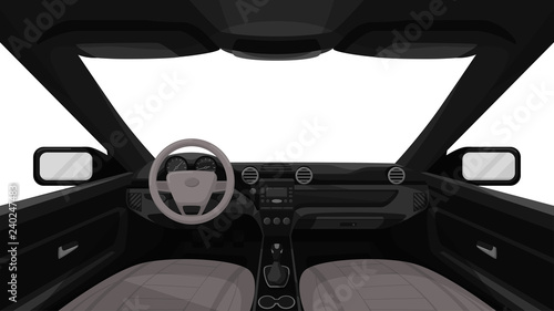 Tuinposter Cartoon cars Car salon. View from inside of vehicle. Dashboard front panel. Driver view. Simple cartoon design. Realistic car interior. Flat style vector illustration.