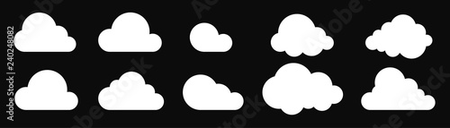 Clouds icon set isolated on a black background. Logo and sign. Cloud technologies. Simple modern design. Flat style vector illustration.