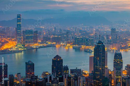 Garden Poster Beautiful morning Hong Kong, China - April 8, 2018 - View From The Peak ,Night Skyline of Hong Kong in China.