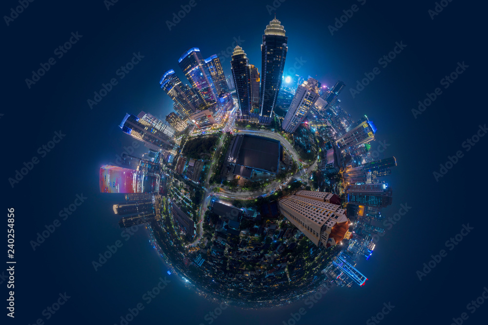 Fototapety, obrazy: Miniature of Jakarta central business district at night