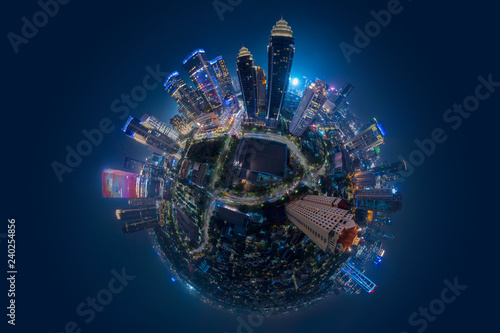 Obraz Miniature of Jakarta central business district at night - fototapety do salonu