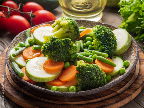 Mix of boiled vegetables, steam vegetables for dietary low-calorie diet Canvas Print