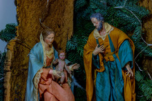 The Representation Of The Holy Family, The Virgin Mary Holding The Child Jesus And Beside St. Joseph. The Realization Made By The Master Craftsmen Of San Gregorio Armeno.