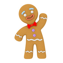 Holiday Decorated Classic Gingerbread Man Cookie. 3d Rendering