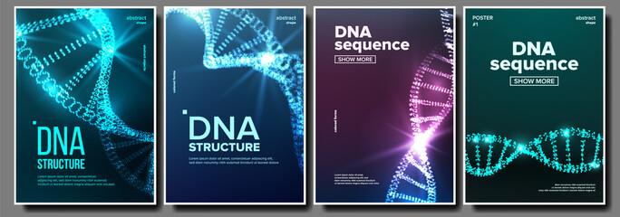 Dna Poster Set Vector. Biochemistry Flyer. Evolution Symbol. Healthy Chromosome. Digital Cell. Medical Banner. Microscopic Element. Illustration