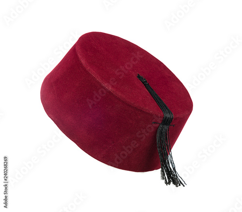 Fotomural Traditional Turkish hat called fez isolated on white background.