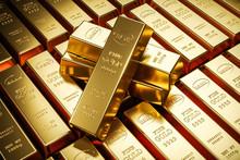 Gold Bars In Bank Vault. Storage. 3d