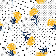 Black And White Polka Dots Pattern Mix In Different Size Of Circle On Top With Bright Summer Oriental Blooming Yellow  Flowers Seamless Pattern Vector