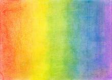 Colorful Rainbow Chalk Pastel Background / Soft Pastel. Handdrawn Rainbow Gradient, Rough Texture.