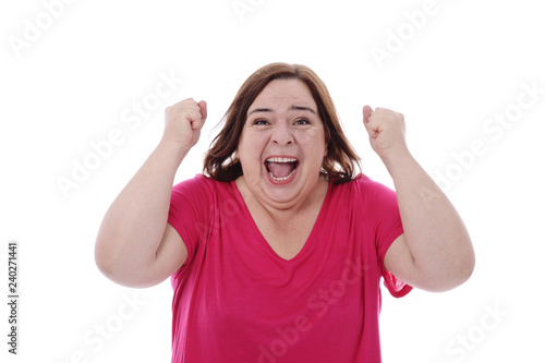 Fotografie, Obraz  expression femme contente criant son enthousiasme