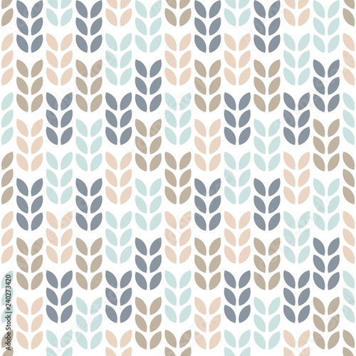 Simple floral seamless pattern. Scandinavian style geometric leaves. Vector wallpaper.