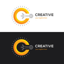 Logo With Letter C And Light Bulb.