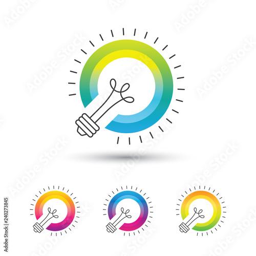 Bright colorful light bulb logo set on white background. Canvas Print
