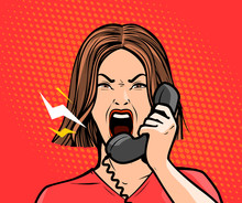 Angry Girl Or Young Woman Screaming Into The Phone. Pop Art Retro Comic Style. Cartoon Vector Illustration