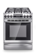 Stainless Steel Domestic Gas Stove Isolated On White Background. 3d