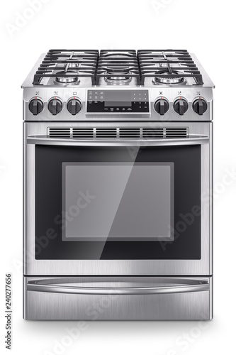 Fotografija Stainless steel domestic gas stove isolated on white background
