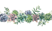Watercolor Succulents Seamless Bouquet. Hand Painted Green, Violet, Pink Cacti, Eucalyptus Leaves And Branches Isolated On White Background.  Botanical Illustration For Design, Print. Green Plants
