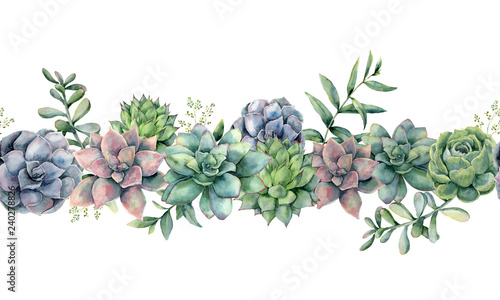 Fototapeta Watercolor succulents seamless bouquet. Hand painted green, violet, pink cacti, eucalyptus leaves and branches isolated on white background.  Botanical illustration for design, print. Green plants obraz