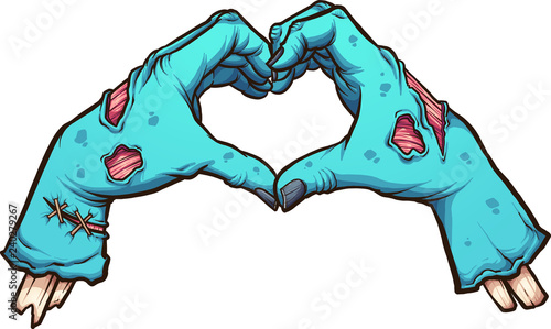 Valentine zombie hands forming a heart shape Wallpaper Mural