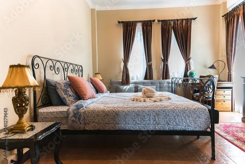 Beautiful And Modern Bedroomneon Lighttuscany Style