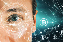 Face Recognition And Cryptocurrency Concept
