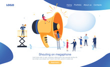 Group Of People Shouting On Megaphone Vector Illustration Concept Can Use For, Landing Page Template