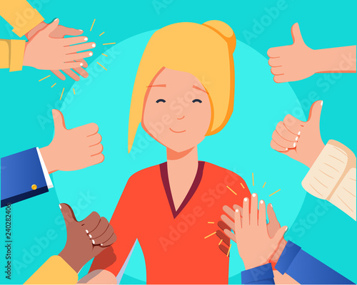 Photo Happy woman portrait with thumbs up and human hands clapping isolated on background
