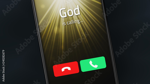 Fotomural God is calling on a smartphone