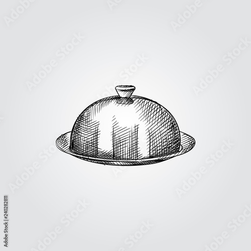 Fotografie, Obraz  Hand Drawn dish with a lid Sketch Symbol isolated on white background