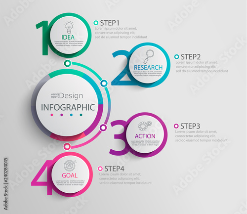 Photo  Paper infographic template with 4 round circle options for presentation and data visualization