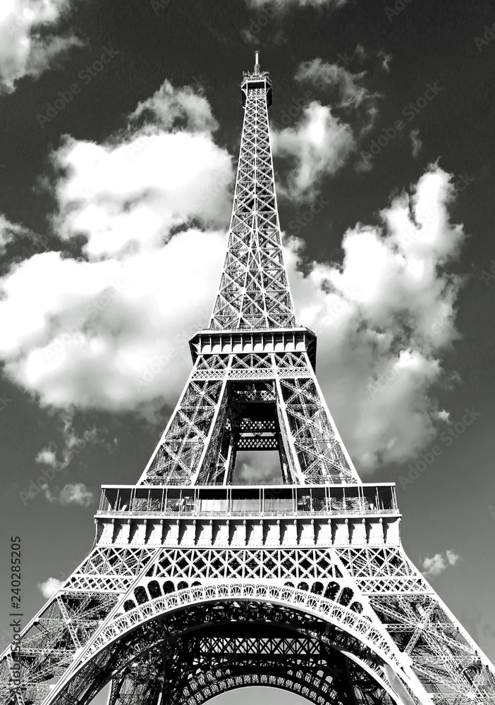 Eiffel Tower in Paris and white clouds