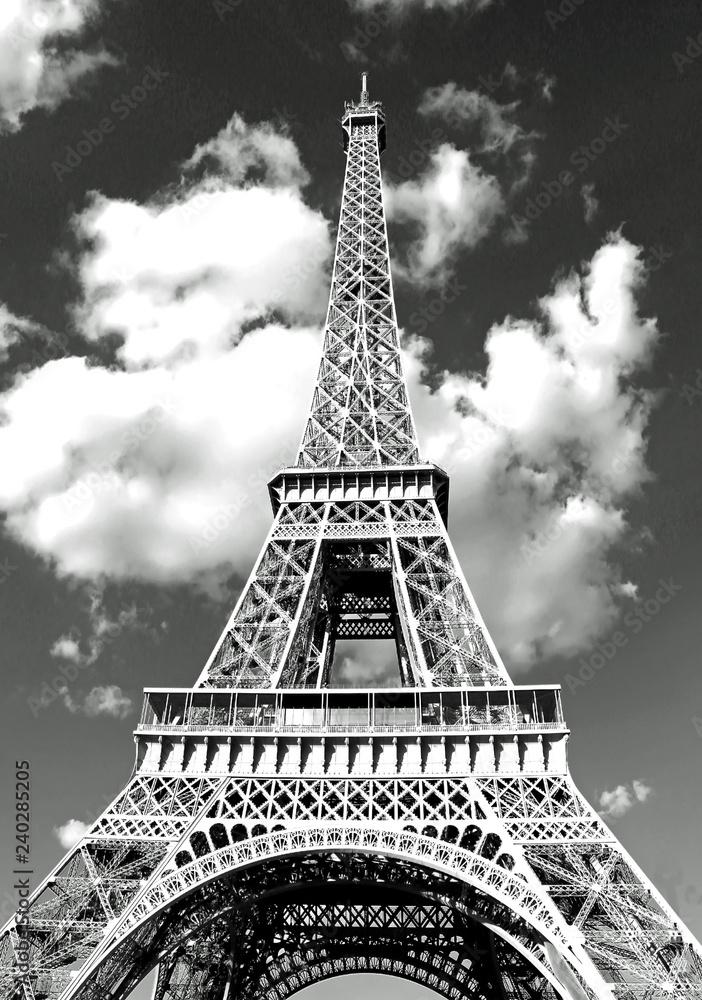Fototapeta Eiffel Tower in Paris and white clouds