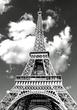 Fototapeta Wieża Eiffla - Eiffel Tower in Paris and white clouds