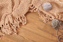 Brown Knitted Plaid And Yarn O...
