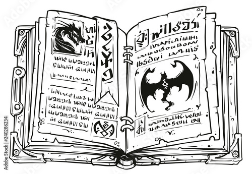 Cartoon black and white old open magic spell book with dragons, strange symbols and bookmark Wallpaper Mural