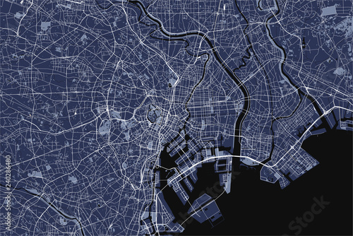 map of the city of Tokyo, Kanto, Island Honshu, Japan Wallpaper Mural