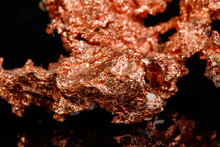 Macro Mineral Stone Copper On Black Background