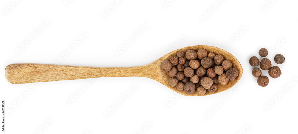 Fototapety, obrazy: Allspices or Jamaica pepper in wooden spoon isolated on white background. Top view