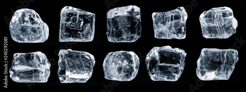 Leinwand Poster Set of ice cubes, isolated on black background,  Clipping path for each piece included