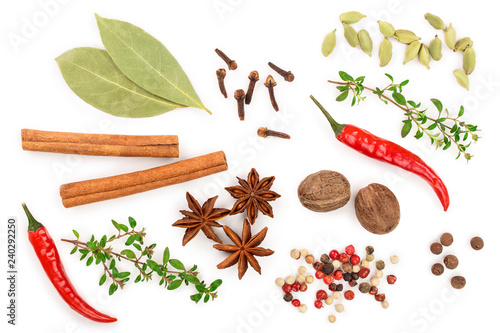 Fotografía  mix of spices isolated on a white background