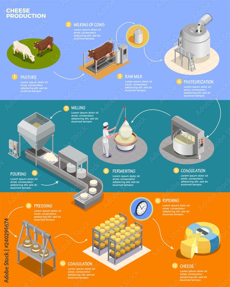 Photo  Cheese Production Isometric Infographics