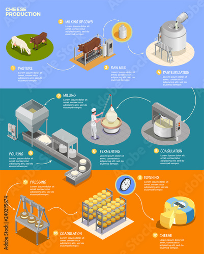 Photo  Cheese Production Isometric Infographics