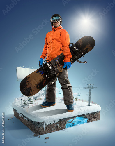 Winter Sport concept. Winter background. 3d illustration in realistic style.