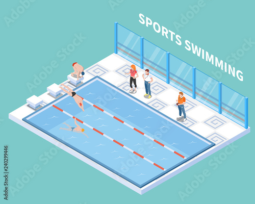 Sports Swimming Isometric Composition